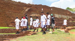 Kids on the top of the Rock Fortress in Sigiriya. Stock Footage
