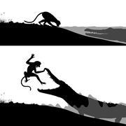 crocodile and monkey - stock illustration