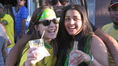Brazil soccer fans in Toronto party and celebrate world cup game - stock footage