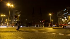 Amsterdam Street At Night Time Lapse 18 - stock footage