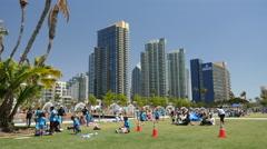 San Diego County Bayfront Embarcadero park Stock Footage