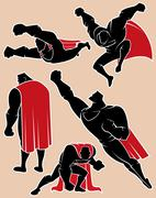 Superhero in Action - stock illustration