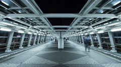 Time lapse night view of futuristic pedestrian passageway in Odaiba, Stock Footage