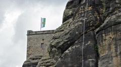 Flag on Fortress Königstein Stock Footage