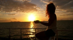 Motivational and Incentive Video with Young Woman at Sunset. Slow Motion. - stock footage