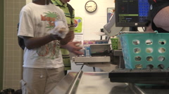 School cafeteria students at checkout Stock Footage
