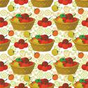 Stock Illustration of Seamless pattern, baskets and tomatoes