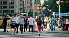 Fifth Avenue Manhattan New York City NYC USA People Walking Crosswalk - stock footage