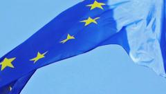 Flag of EU in front of Parliament, Strasbourg Stock Footage