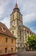 tower of the black church in brasov - stock photo