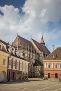 Black church at the central square in brasov Stock Photos
