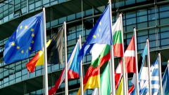 Stock Video Footage of European Union Countries flags array