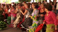 Spanish ladies dance & sing at the local feria, (fair) Stock Footage