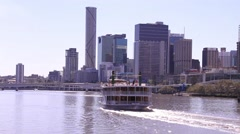 Paddle Steam Boat and City Stock Footage