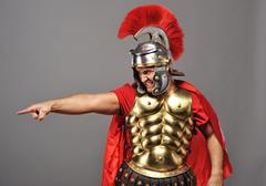 angry legionary soldier - stock photo