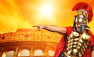 Stock Photo of angry legionary soldier in front of coliseum