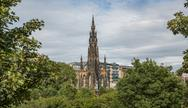 Stock Photo of Scott monument and gardens in Edinburgh, Scotland, United Kingdom
