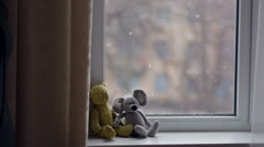 Toys On The Windowsill - stock footage