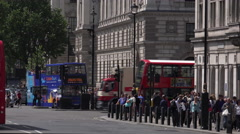 Red Busses in the city of Westminster Stock Footage