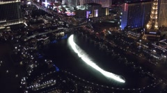 Aerial view of the dancing fountains in Las Vegas 4K Stock Footage