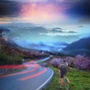 Bike riding with nice background Stock Photos
