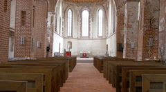 The view inside the big church in tartu 4k gh4 Stock Footage