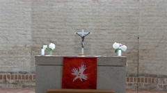 Closer look of the altar in the church in estonia 4k gh4 Stock Footage
