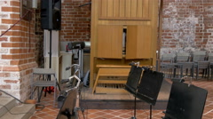The music area of the church in tartu 4k gh4 Stock Footage