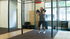 Double Dumbbell Push Press Stock Footage