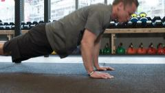 Push Ups at a Crossfit Affiliate in Amsterdam Stock Footage