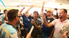Argentina fans sing and dance before the mach Argentina x Netherlands Stock Footage