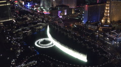 Bellagio fountains at night, aerial view, Las Vegas - stock footage