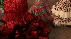 Swirling Traditional flamenco dresses  Stock Footage