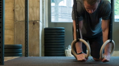 Ring Push Ups at a Crossfit Affiliate in Amsterdam Stock Footage