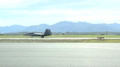 F-22 Raptor fighter jet at red flag Stock Footage