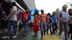 MVI Dutch supporter wearing beautiful typical dress in 2014 World Cup Stock Footage