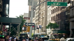 Fifth Avenue Sign in Manhattan, New York City, USA - stock footage