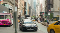 Broadway in Manhattan, NYC, USA with Taxi Cab Stock Footage