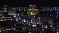 Las Vegas Strip at night with the High Roller Observation Wheel HD Stock Footage