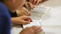 The Children Read The Bible 8 Stock Footage