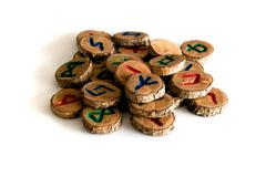 hand carved and painted wooden oak runes - stock photo