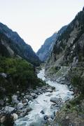 bhagirathi river at gangotri, uttarkashi district, uttarakhand, india - stock photo