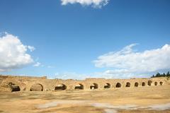 Roman aqueduct arches near carthage Stock Photos