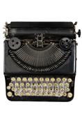 Vintage portable typewriter with cyrillic letters Stock Photos