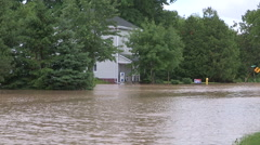 Local flooding in town after severe thunder storm hit Seaforth Ontario Stock Footage