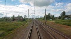 Train going ahead, view from locomotive cabin Stock Footage