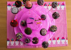 a handmade cake of cake-pop - stock photo