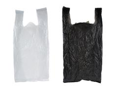 Stock Photo of black and white plastic bag