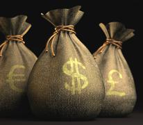 euro dollar pound - stock illustration