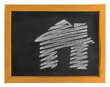 hand-drawn house icon - stock photo